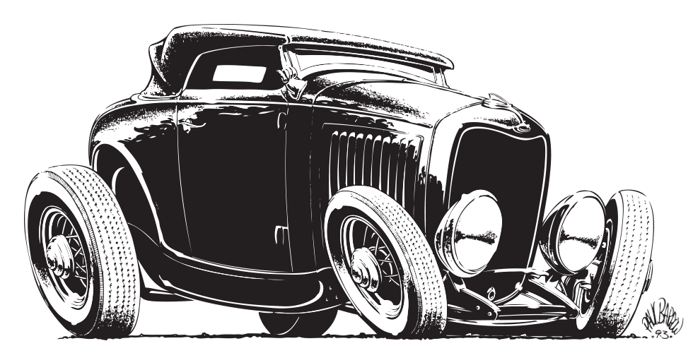 Paul Barrow Hot Rod 32 ford illustration for North American Motor Co, Farnborough